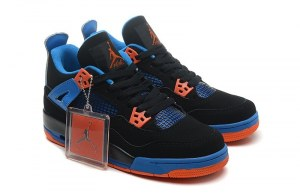 Nike Air Jordan 4 Retro Жен (Black/Safety Orange/Game Royal) (002)