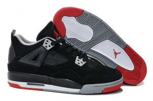 Nike Air Jordan 4 Retro Жен (Black/Cement Grey/Red) (009)